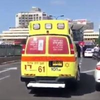 Illustrative: A Magen David Adom Ambulance in Tel Aviv. (screen capture: MDA)