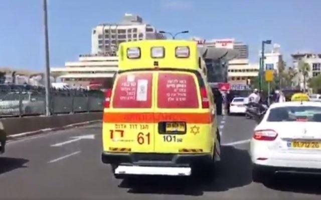 Illustrative: A Magen David Adom Ambulance in Tel Aviv. (screen capture: MDA)