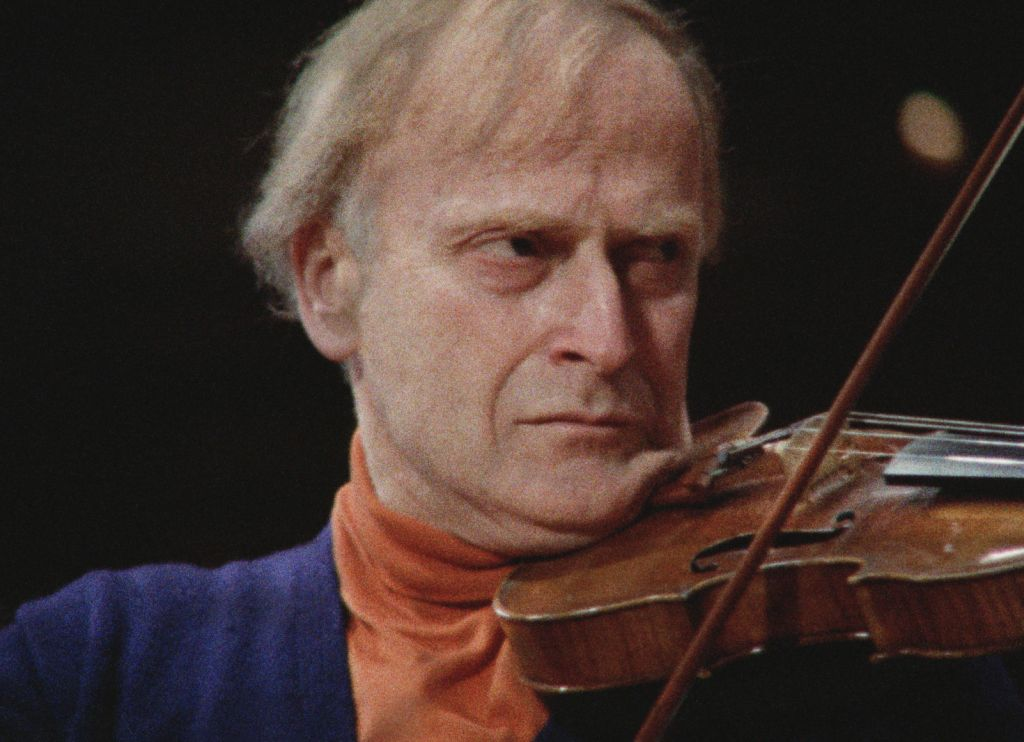 Violin virtuoso Yehudi Menuhin in 'The Memory of Justice.' (Courtesy HBO)