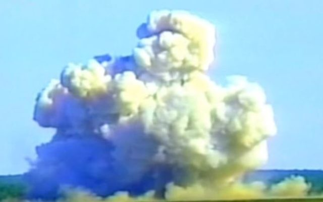 Screen shot from video of a Massive Ordnance Air Blast bomb (MOAB) test. (YouTube/Military Forces)