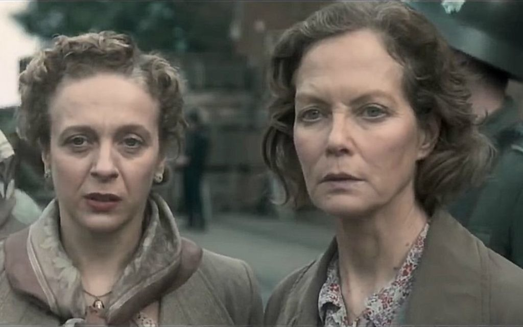 Amanda Abbington, left, and Jenny Seagrove as Louisa Gould in 'Another Mother's Son.' (Screenshot)