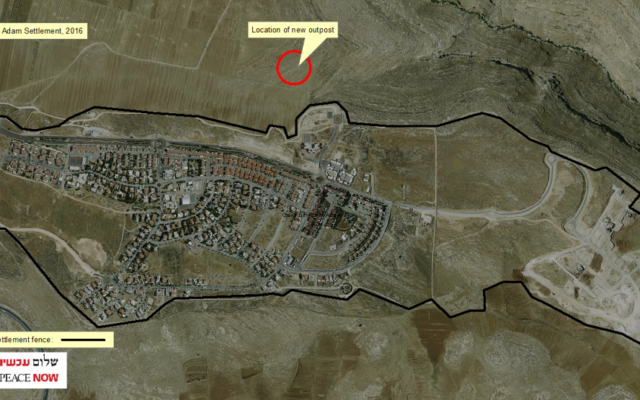 The location of the new outpost (courtesy/ Peace Now)