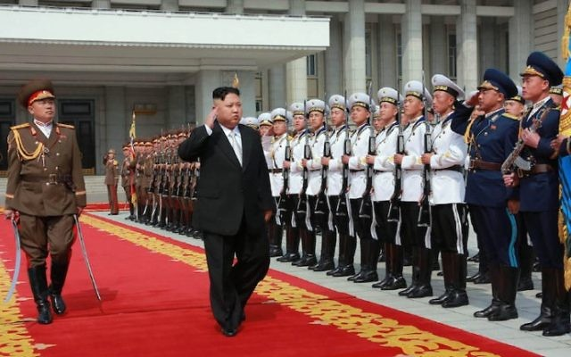 North Korean leader Kim Jong-Un (C) arriving for a military parade in Pyongyang marking the 105th anniversary of the birth of late North Korean leader Kim Il-Sung, in an April 15, 2017 picture released from North Korea's official Korean Central News Agency (KCNA) on April 16, 2017. (STR/AFP/Getty Images via JTA)