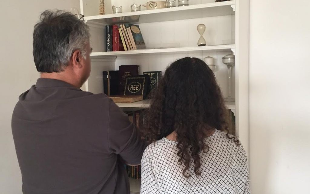 G and S, the parents of alleged bomb hoaxer M, at their home in Ashkelon, April 26, 2017 (Times of Israel staff)