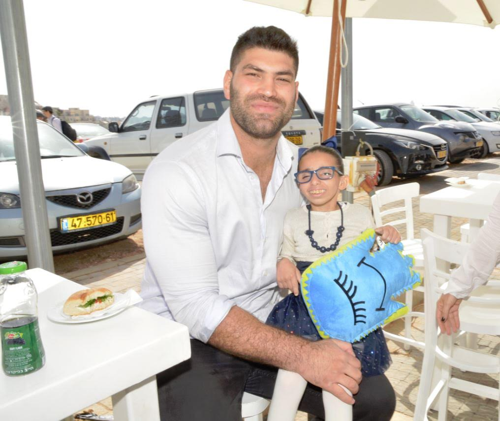 Judoka Ori Sasson at the April 27 opening of Shalva's new headquarters (Courtesy)