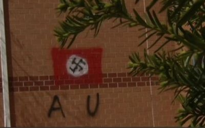 The swastika found daubed on the Jewish Community Center in northern Virginia on April 11, 2017. (screen capture: NBC Washington)