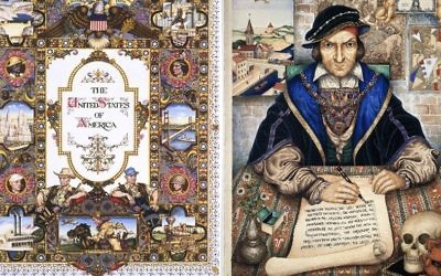 """The United States of America"" (1945), left, and ""The Scribe"" (1927), by Arthur Szyk. (The Magnes Collection of Jewish Art and Life, University of California, Berkeley)"