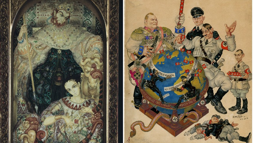 """David and Saul"" (1921), left, and ""Madness"" (1941), by Arthur Szyk. (The Magnes Collection of Jewish Art and Life, University of California, Berkeley)"