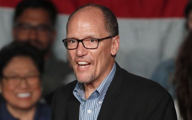 DNC Chairman Tom Perez walks on stage to speak to a crowd of supporters at a Democratic unity rally at the Rail Event Center on April 21, 2017 in Salt Lake City, Utah. (George Frey/Getty Images)