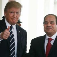 President Donald Trump welcomes Egyptian President Abdel Fattah el-Sissi to the West Wing of the White House, April 3, 2017. (Mark Wilson Wilson/Getty Images via JTA)