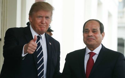 US President Donald Trump welcomes Egyptian President Abdel Fattah el-Sissi to the West Wing of the White House, April 3, 2017. (Mark Wilson Wilson/Getty Images via JTA)