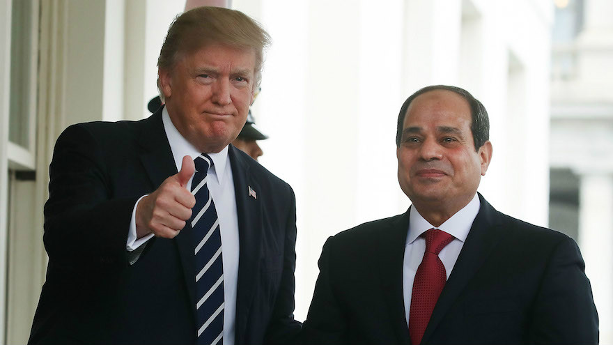 President Donald Trump welcoming Egyptian President Abdel Fattah el-Sissi to the West Wing of the White House, April 3, 2017. (Mark Wilson Wilson/Getty Images via JTA)