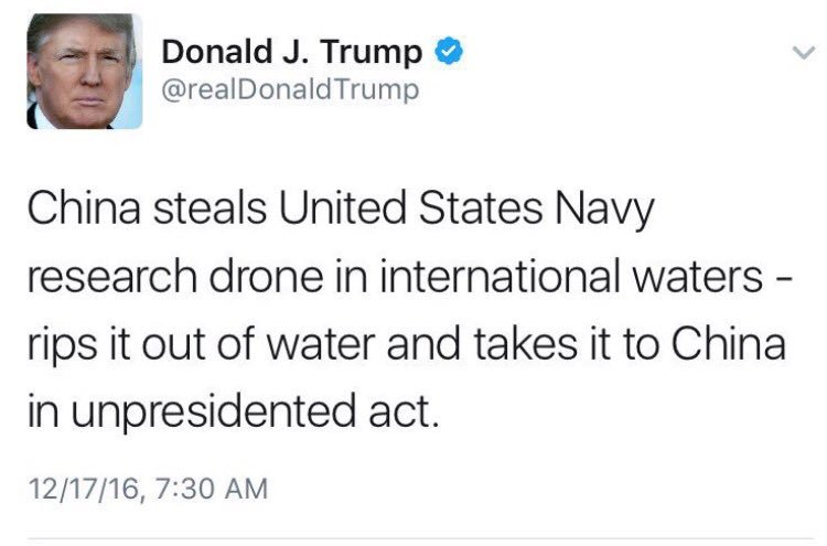 """A tweet by US President Donald Trump in which the word """"unprecedented"""" is mistakenly spelled """"unpresidented."""" The tweet was deleted hours after first posted. (Screen capture: Twitter)"""