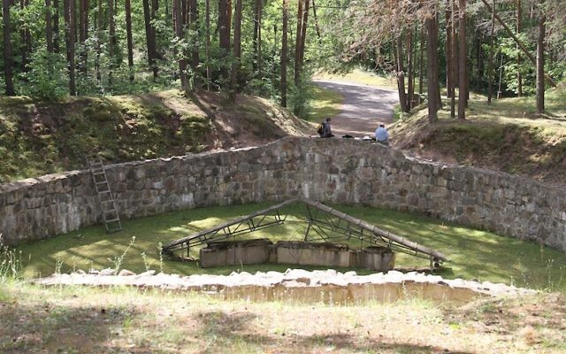 """The infamous """"Burning Pit"""" used by the Nazis to burn the remains of their Jewish victims in order to rid themselves of all evidence. (Ezra Wolfinger for WGBH/JTA)"""