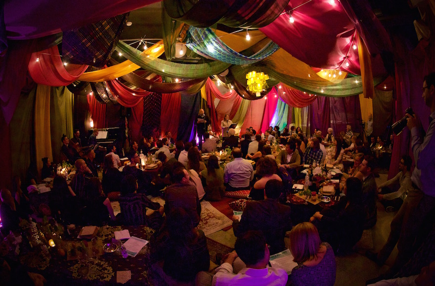 Danny Burstein and Tovah Feldshuh performing inside the 'Unleavened' room, fashioned after a Bedouin tent. (Christopher Chavez/via JTA)
