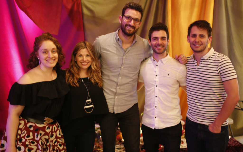 The 'Unleavened' organizers, from left to right: Iris Mansour, Rebecca Soffer, Brian Bourdainick, Adam Kantor and Benj Pasek. (Daniel Pincus/via JTA)