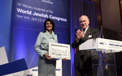 US Ambassador to the UN Nikki Haley and WJC President Ronald Lauder at the WJC Plenary Assembly in New York on April 25, 2017. (Shahar Azran)