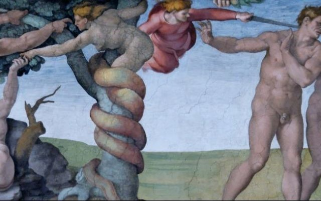 The fall of Adam and Eve as depicted in the Sistine Chapel by Michelangelo (Wikipedia / Public Domain)