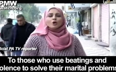 An image from a Palestinian TV show that aired on April 1, 2017 that urged men who 'had to' beat their wives, to do sp in accordance with the Quran. (screen capture: YouTube)