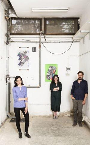 Anat Safran, Ayelet Dror and Tal Erez, the artistic director, producer and curator of Jerusalem Design Week, June 8-15, 2017 (Courtesy Itai Banit)