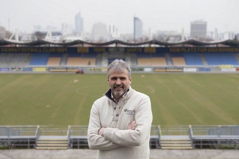 Gerhard Kirsch, First Vienna Football Club 1894 Managing Director, poses for a picture during an interview in the Hohe Warte stadium in Vienna, on March 15, 2017. (AFP PHOTO / ALEX HALADA)