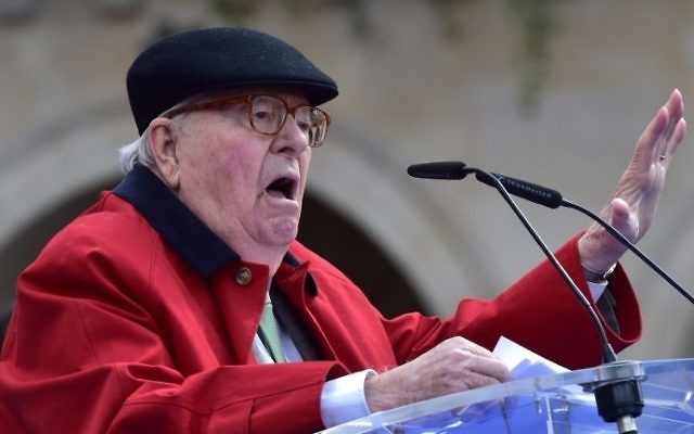 France's far-right National Front founder Jean-Marie Le Pen delivers a speech during a May Day rally in honor of Joan of Arc in Paris on May 1, 2017. (Christophe Archambault/AFP)