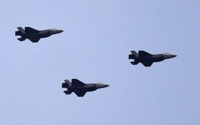 Illustrative: Israeli F-35 fighter jets fly over Jerusalem during celebrations marking Israel's 69th Independence Day on May 2, 2017. (AFP Photo/Thomas Coex)
