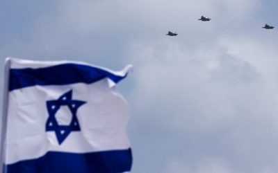 Israeli F-35 fighter jets perform during celebrations for Israel's 69th Independence Day in Tel Aviv on May 2, 2017. (AFP Photo/Jack Guez)