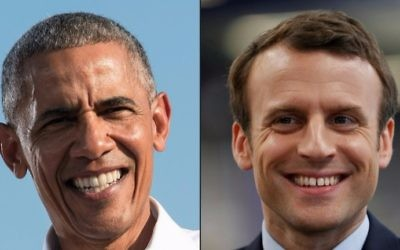 This combination of pictures created on May 4, 2017 shows a file photo taken on November 2, 2016 of then US President Barack Obama (L) speaking at a rally at the University of North Carolina in Chapel Hill, and a file photo taken on April 18, 2017 of French presidential election candidate for the En Marche ! movement, Emmanuel Macron reacting during his visit to the KRYS group's headquarters in Bazainville. (THOMAS SAMSON, NICHOLAS KAMM / AFP)