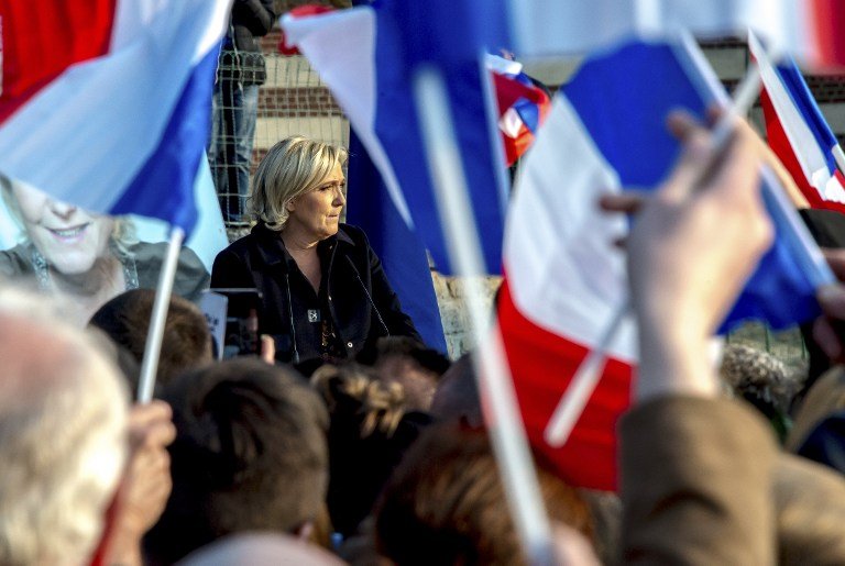French presidential election candidate for the far-right Front National (FN) party Marine Le Pen speaks during a campaign meeting in Ennemain, northern France, on May 4, 2017. (AFP PHOTO / PHILIPPE HUGUEN)