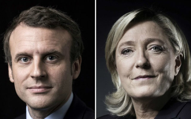 This combination of pictures made on April 23, 2017 shows French presidential candidates Emmanuel Macron, left, and Marine Le Pen, right, posing in Paris. (Eric Feferberg, Joël Saget/AFP)