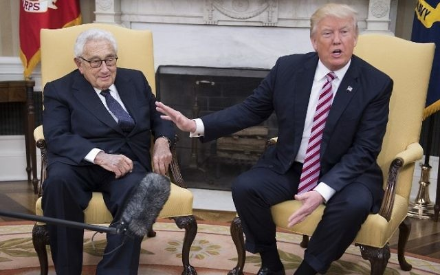 US President Donald Trump speaks during a meeting with former US secretary of state Henry Kissinger in the Oval Office of the White House on May 10, 2017. (AFP Photo/Jim Watson)