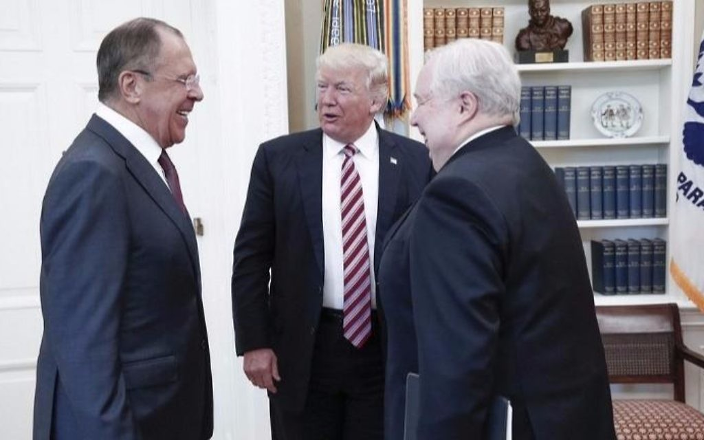 A handout photo made available by the Russian Foreign Ministry on May 10, 2017 shows US President Donald J. Trump (C) speaking with Russian Foreign Minister Sergei Lavrov (L) and Russian Ambassador to the U.S. Sergei Kislyak during a meeting at the White House in Washington, DC. (HO / RUSSIAN FOREIGN MINISTRY / AFP)