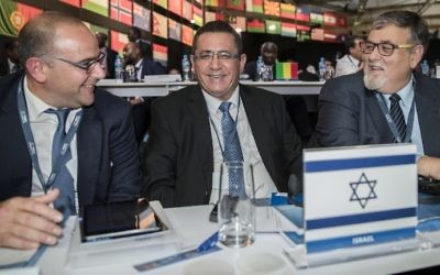President of the Israeli Football Association Ofer Eini and ISA CEO Rotem Kamer (L) attend the 67th FIFA Congress in the Bahraini capital Manama on May 11, 2017. (AFP Photo/Jack Guez)