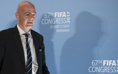 FIFA President Gianni Infantino arrives for a press conference at the 67th FIFA Congress in the Bahraini capital Manama on May 11, 2017. (AFP Photo/Jack Guez)