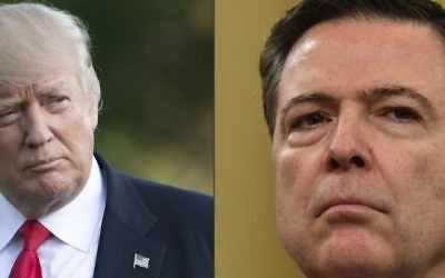 This combination of pictures created on May 12, 2017 shows US President Donald Trump walking after arriving on Marine One on the South Lawn of the White House in Washington, DC, April 28, 2017, following a trip to Atlanta, Georgia.  FBI Director James Comey looks on during the House Permanent Select Committee on Intelligence hearing on Russian actions during the 2016 election campaign on March 20, 2017 on Capitol Hill in Washington, DC. (AFP/Saul Loeb and Nicholas Kamm)