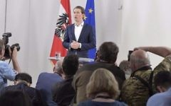 Austrian Foreign Minister Sebastian Kurz holds a press conference, after being appointed as head of the country's center-right People's Party (OeVP) on May 14, 2017, in Vienna, Austria. (Joe Klamar/AFP)