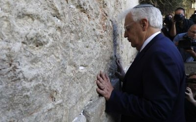New US ambassador to Israel David Friedman prays at the Western Wall in the Old City of Jerusalem on May 15, 2017. (AFP Photo/Menahem Kahana)