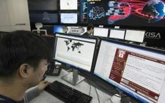 Illustrative: Staff monitoring the spread of ransomware cyberattacks at the Korea Internet and Security Agency (KISA) in Seoul, May 15, 2017. (AFP/ YONHAP)