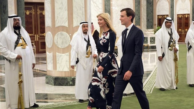 Ivanka Trump (C-L) and Jared Kushner (C-R) arrive to attend the presentation of the Order of Abdulaziz al-Saud medal at the Saudi Royal Court in Riyadh on May 20, 2017. (AFP PHOTO / MANDEL NGAN)