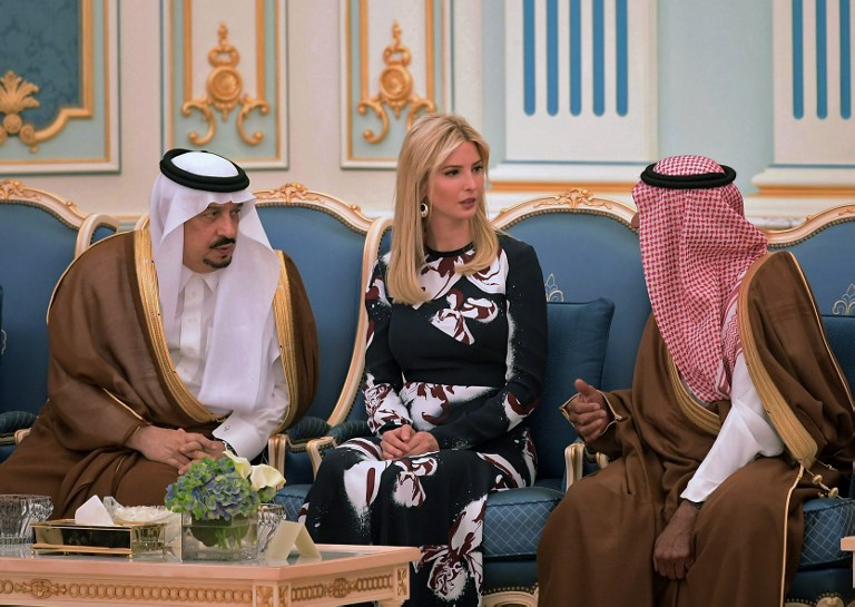Ivanka Trump is seen at a ceremony where her father US President Donald Trump received the Order of Abdulaziz al-Saud medal from Saudi Arabia's King Salman bin Abdulaziz al-Saud at the Saudi Royal Court in Riyadh on May 20, 2017. (AFP PHOTO / MANDEL NGAN)