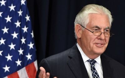 US Secretary of State Rex Tillerson holds a press conference with the Saudi minister of foreign affairs following a bilateral meeting in Riyadh on May 20, 2017. (AFP/ FAYEZ NURELDINE)