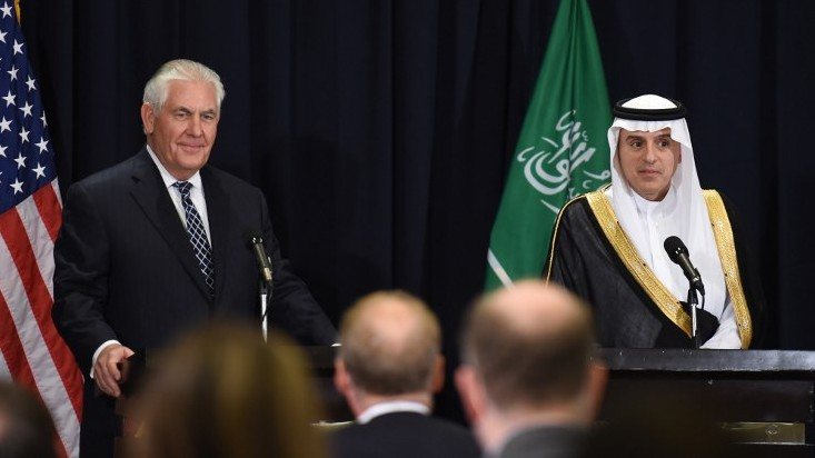 Saudi Minister of Foreign Affairs Adel al-Jubeir , right, and US Secretary of State Rex Tillerson hold a press conference following a bilateral meeting in Riyadh on May 20, 2017. (AFP/ FAYEZ NURELDINE)