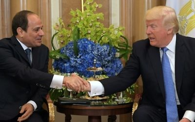 US President Donald Trump (R) and Egyptian President Abdel-Fattah el-Sissi take part in a bilateral meeting at a hotel in Riyadh on May 21, 2017. (AFP PHOTO / MANDEL NGAN)