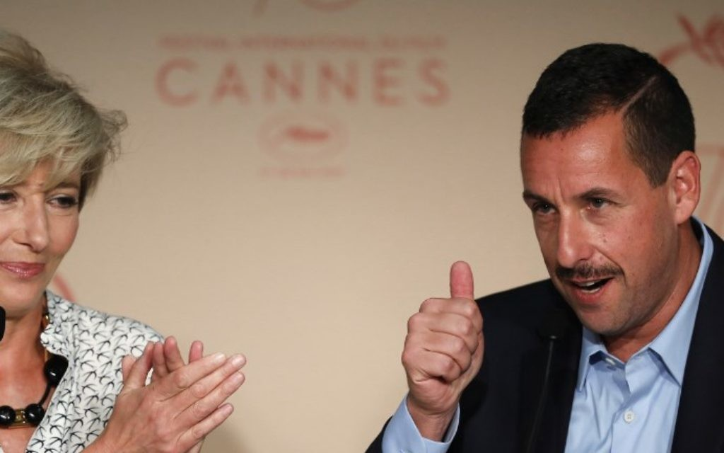 Adam Sandler (R) gestures next to Emma Thompson during a press conference for the film 'The Meyerowitz Stories (New and Selected)' at the 70th Cannes Film Festival in southern France, on May 21, 2017 (Laurent EMMANUEL / AFP)