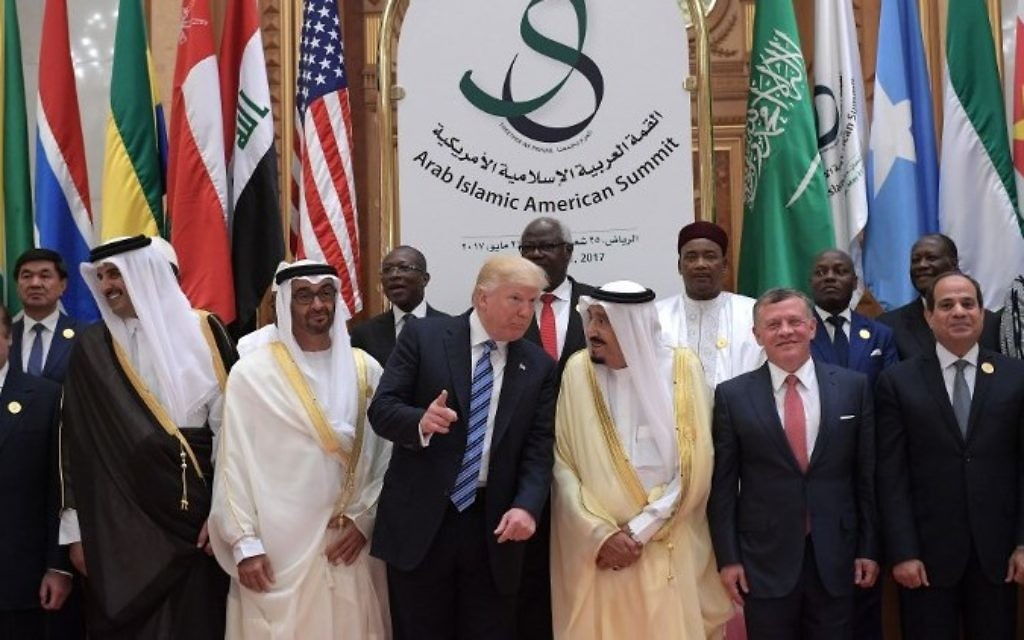 US President Donald Trump, Saudi Arabia's King Salman bin Abdulaziz al-Saud, Jordan's King Abdullah II, Egyptian President Abdel Fattah al-Sissi and other officials pose for a group photo during the Arabic Islamic American Summit at the King Abdulaziz Conference Center in Riyadh on May 21, 2017. (AFP/ MANDEL NGAN)
