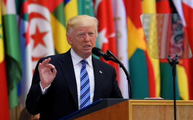 US President Donald Trump speaks during the Arabic Islamic American Summit at the King Abdulaziz Conference Center in Riyadh on May 21, 2017. (AFP Photo/Mandel Ngan)