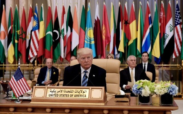 US President Donald Trump center seated at the Arabic Islamic American Summit at the King Abdulaziz Conference Center in Riyadh, May 21, 2017. (AFP/MANDEL NGAN)
