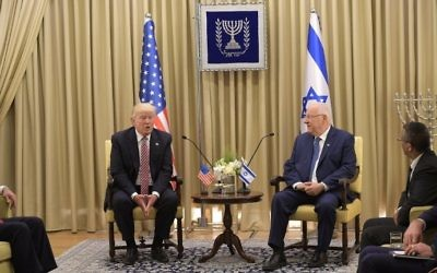 US President Donald Trump meets with President Reuven Rivlin at the President's Residence in Jerusalem on May 22, 2017. (AFP Photo/Mandel Ngan)