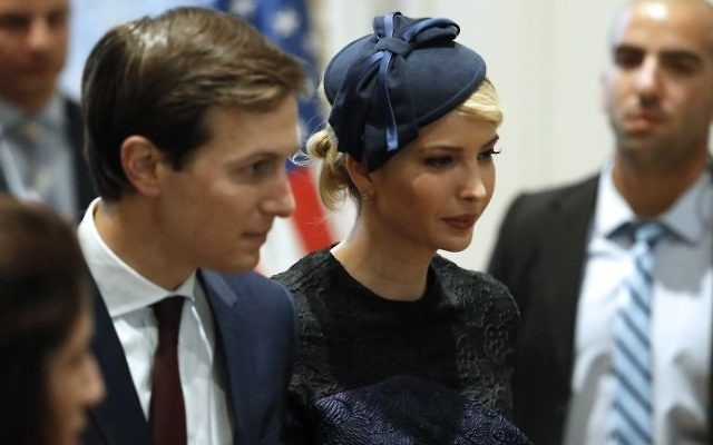 White House senior advisor Jared Kushner (L) and Ivanka Trump attend a press conference at the President's Residence in Jerusalem on May 22, 2017. (AFP Photo/Thomas Coex)